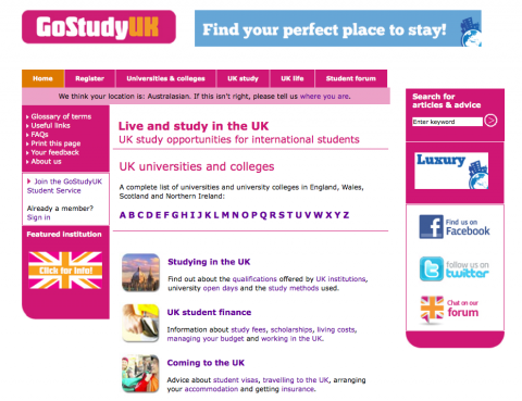 Go Study UK home page