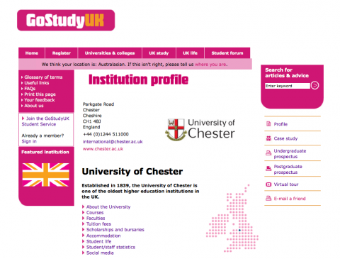 GoStudyUK institution profile
