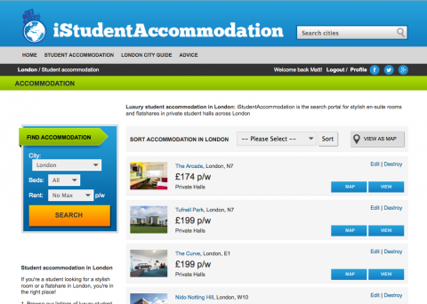 iStudentAccommodation London residence listing