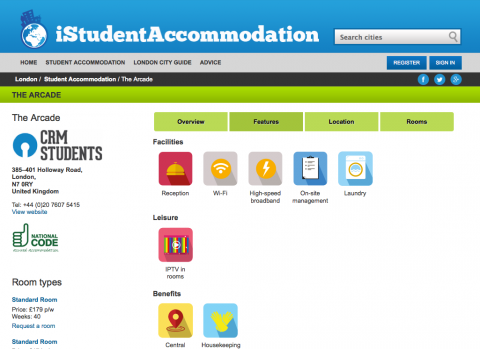 iStudentAccommodation features