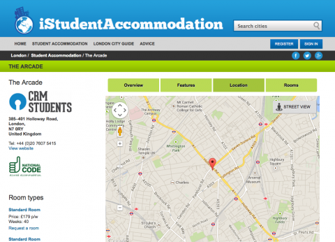 iStudentAccommodation residence map view